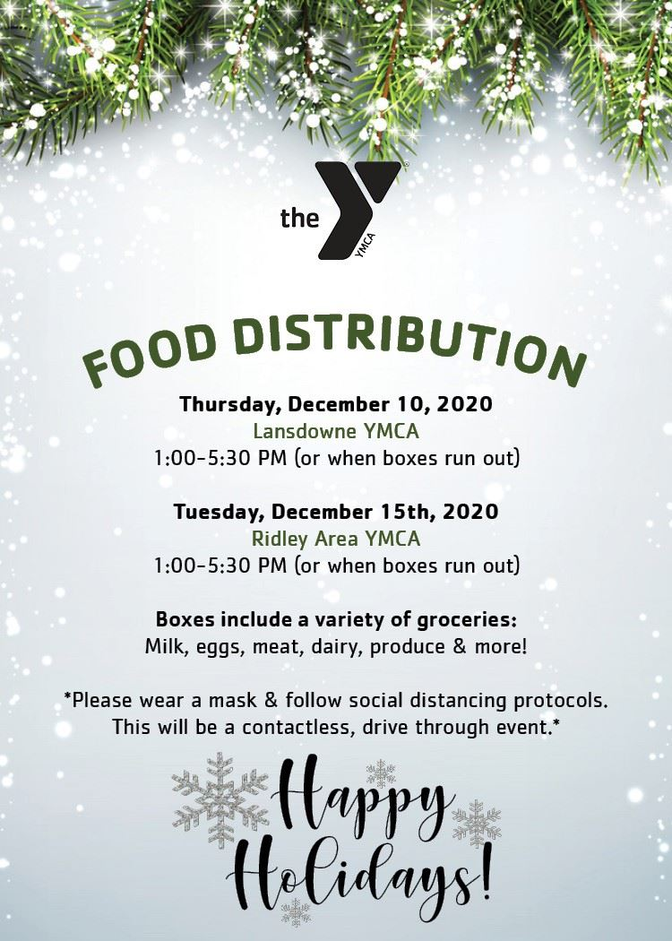 YMCA Free Food distribution Dec 10 and 15